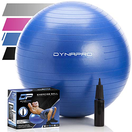 DYNAPRO Exercise Ball - 2,000 lbs Stability Ball - Professional Grade - Anti Burst Exercise Equipment for Home, Balance, Gym, Core Strength, Yoga, Fitness, Desk Chairs (Blue, 65 Centimeters)