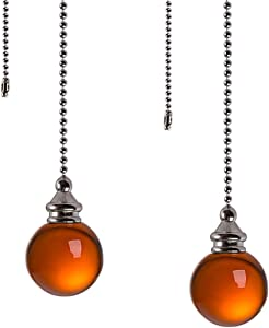 Ceiling Fan Pull Chain Set - 2 pieces Amber Crystal Ball 30mm Diameter Fan Pull Chains 20 Inch Ceiling Fan Chain Extender with Chain Connector Home Wedding Decor Ornament Pendant