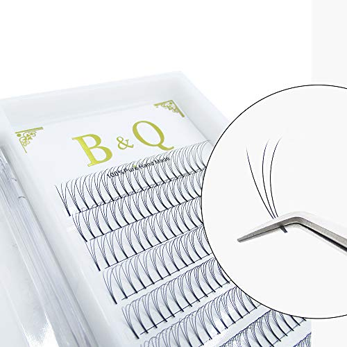 Premade Volume Fans Eyelash Extensions 12 Rows/Tray Short Stem Russian Volumes Lashes Extensions Fans C/D Curl 0.07/0.10 Thickness Individual Cluster Eyelash Extensions (3D-D curl-0.10, 15mm)