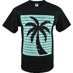 Mens Black Palm Tree Shadow Tank Top Shirt S