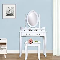 Attraction Design Vanity Table Set Makeup Dressing Table with Cushioned Stool White (Four Drawers)