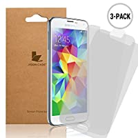 Jisoncase® - Supreme Quality 3-Pack Samsung Galaxy S5 Crystal Clear Screen Protectors (Released 2014) - Includes Microfiber Cleaning Cloth BZ-SM5-H003