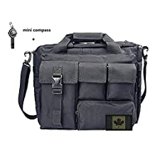"4 BROS Multifunction (+FLAG PATCH) Mens Outdoor Tactical Nylon Shoulder Laptop Messenger Bag Briefcase Handbags Large Enough for 14"" Laptop/Camera/iPad"