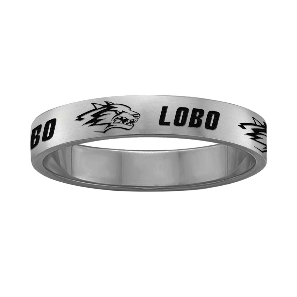 Full Logo College Jewelry New Mexico Lobos Ring Ring Narrow Style 4MM Wide Band
