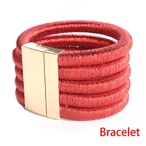 FANCY LOVE New Stretch Rope Red Punk Wide Colar Statement Maxi Bracelet Fancy Rope Bracelet