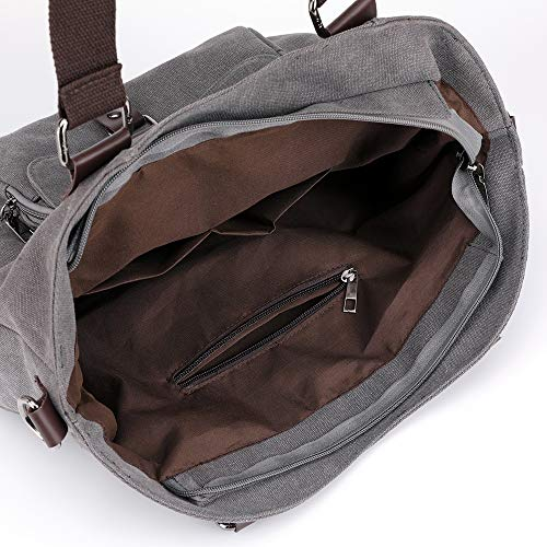 multiples Sac Weekend à main Sac Night Tote bandoulière Bag Canvas femme Travel à Ynnb à Leisure pour Bag Shoulder Gris poches toile en 4Oqgxw