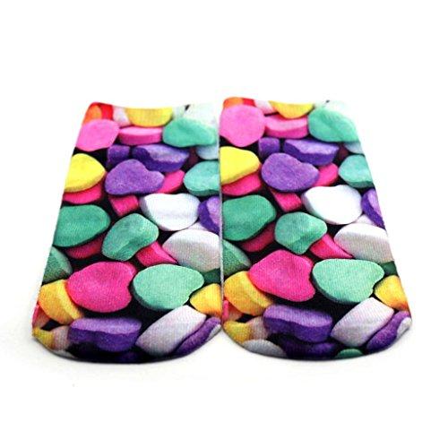 Charming Unisex 3D Printed Cute Cartoon Soft Cotton Hosiery Short Ship Socks Heart