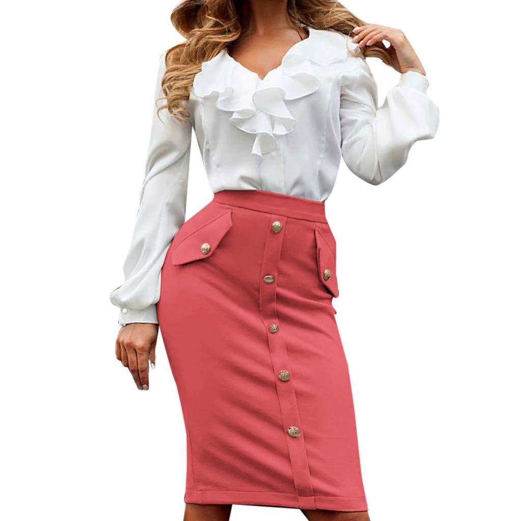 PASATO Women High Waisted Pencil Club Skirt Bodycon Button Pocket Pencil Mini Skater Skirt (Red,M=US:S)
