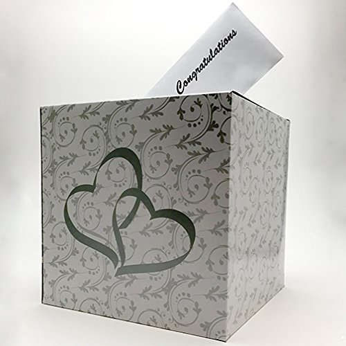 Adorox Double Heart Love Wedding Card Money Gift Box Reception Wishing Well Party Favor (Reception Decorations)