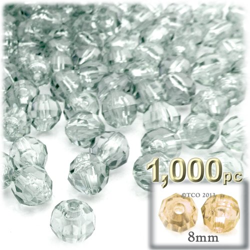 The Crafts Outlet 1000-Piece Faceted Plastic Transparent Round Beads, 8mm, Clear