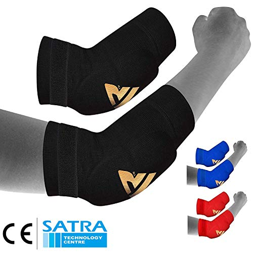 RDX MMA Elbow Support Brace Sleeve Pads Guard Bandage Elasticated Shield Protector, X-Large, Black