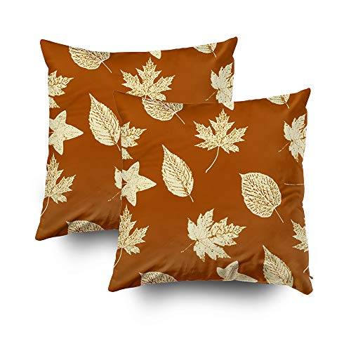 Forest Printed Wake Pillowcase - Capsceoll Christmas 2PCS Leaves Rust Brown Cream Decorative Throw Pillow Case 20X20Inch,Home Decoration Pillowcase Zippered Pillow Covers Cushion Cover with Words for Book Lover Worm Sofa Couch