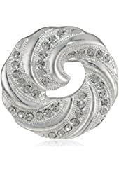 "Napier ""Giftable"" Silver-Tone and Crystal Swirl Pin"