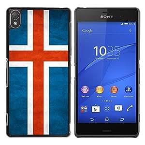 Caucho caso de Shell duro de la cubierta de accesorios de protección BY RAYDREAMMM - Sony Xperia Z3 D6603 / D6633 / D6643 / D6653 / D6616 - Iceland Grunge Flag