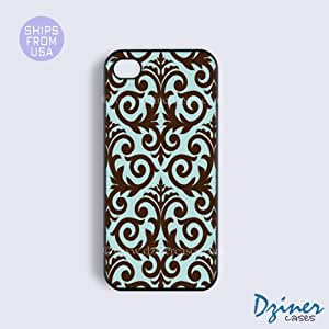 iPhone 5c Tough Case - Chocolate Blue Damask Pattern iPhone Cover