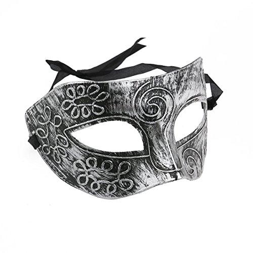 BinaryABC Halloween Masquerade Masks,Halloween Face Mask,Halloween Venetian Masks,Halloween Costumes Props(Silver) ()