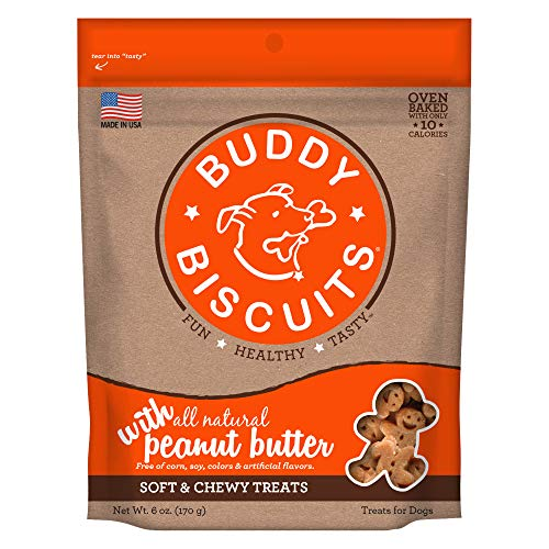 Buddy Biscuits Soft and Chewy Dog Treats w/Peanut Butter - 6oz. (Pack of 4) (Splash Cloud Buddy Star)