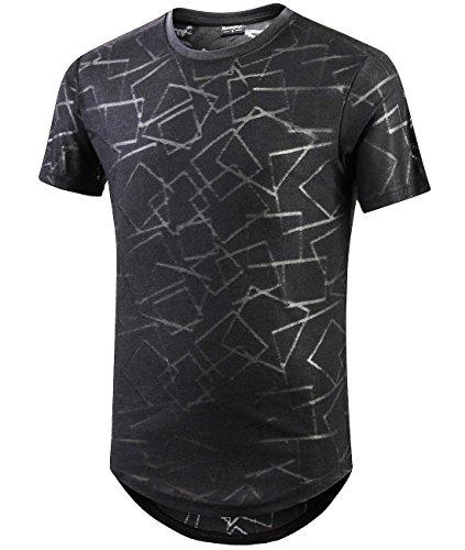 Moomphya Men's Ripped Hipster Hip Hop Short Sleeve Jacquard Knitted Round Hem T-Shirts(Black, Medium) by Moomphya