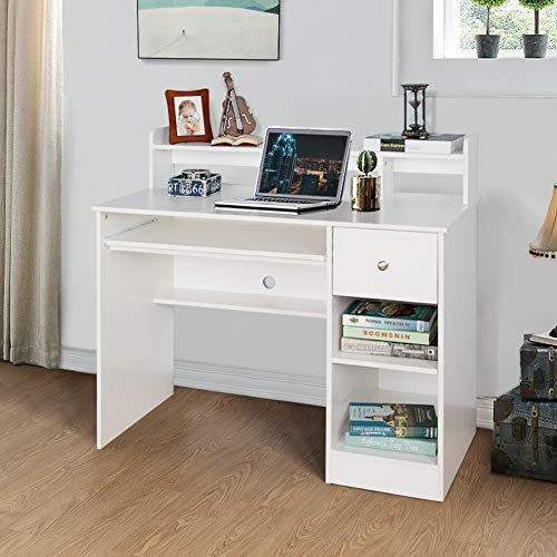 Crestlive Products Writing Computer Desk with Keyboard Tray & Drawer, Home Office Furniture, Floating Organizer 2-Tier Wooden Mission Home Computer Vanity Desk for Apartment Small Space (White)