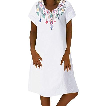 Bibao vestido casual para mujer, floral bordado mexicano ...