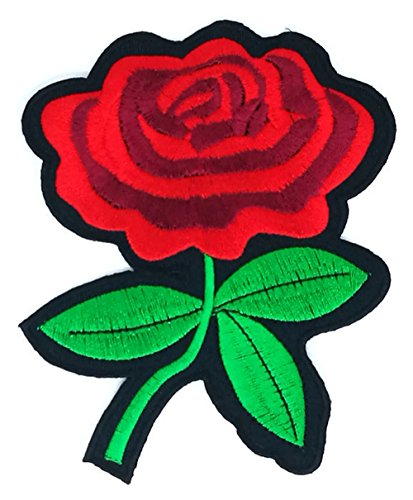 4 x 5 inches.Beautiful red rose Patch Embroidered DIY Patches, Cute Applique Sew Iron on Kids Craft Patch for Bags Jackets Jeans - Ship Does Usps Canada To