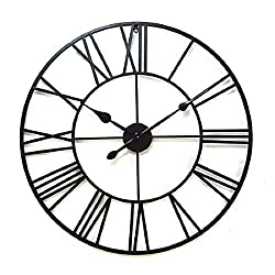 YWYU Creative Roman Retro Wrought Iron Wall Clock Metal Dial Oversized Size Clock AA Battery Powered Living Room Bedroom Bar Cafe Art Decoration (Size : 80cm)