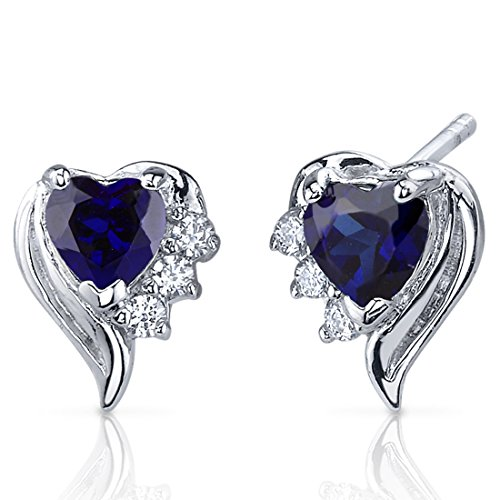 Created Sapphire Heart Earrings Sterling Silver Rhodium Nickel Finish 1.50 Carats