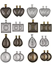 24 Sets Mixed Setting Tray Pendant with Glass Cabochons Bronze Silver for Jewelry Making,Pendant Trays with Glass Cabochons for Crafting DIY Jewelry Gift Making(round & square & heart & teardrop)