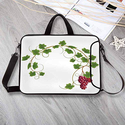 "Grapes Home Decor Stylish Neoprene Laptop Bag,Curved Ivy Branch Deciduous Woody Wines Seed Clusters Cabernet Kitchen Laptop Bag for Business Casual or School,13.8""L x 10.2""W x 0.8""H"