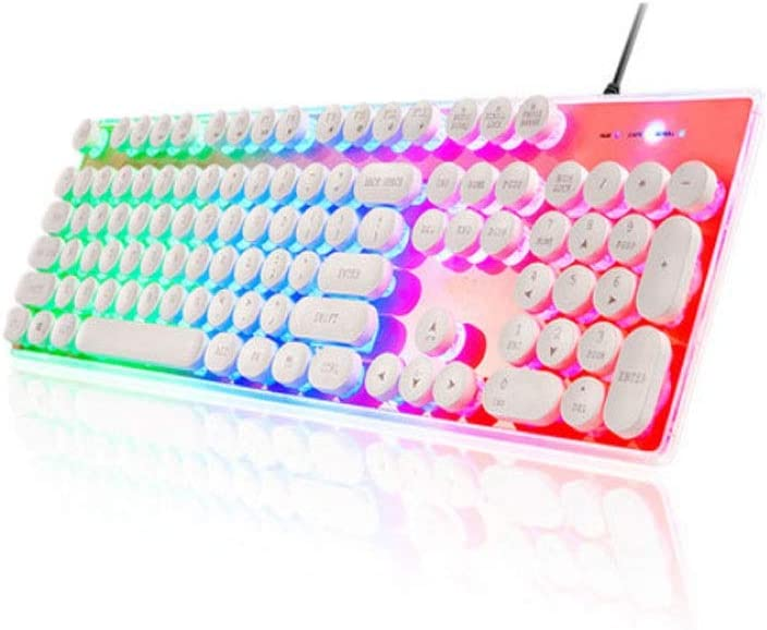 White Bright Light, 47.517.64.3cm Color : White Jingfeng Keyboard Fashion Wired Crystal Personality Style Computer Keyboard Retro Esports Commercial Mechanical Feel Style