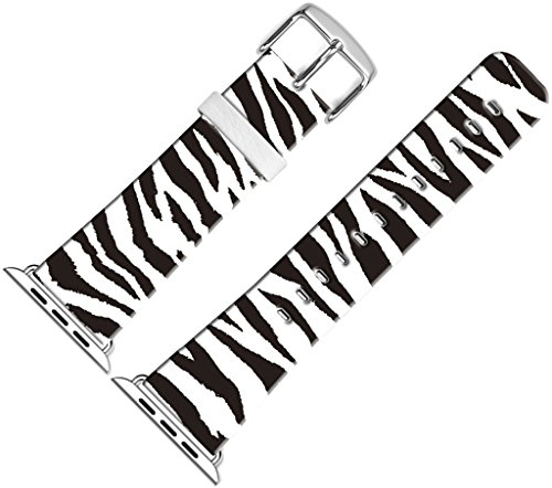 Band for Iwatch Bands 38mm,38mm Leather Strap Wrist Band Replacement W Silver Metal Clasp Compatible for Apple Watch 38mm Series 1 Series 2 Series 3 - Personalized Zebra Lines Print ()