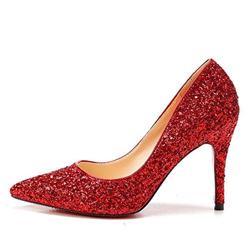 Nbwe Cinderella Cristallo Tacchi Alti Da Sposa Scarpe Da Sposa Sandali Con Brillantini A Punta, Rosso-9.5cm-33
