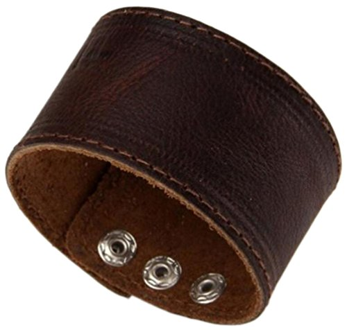 Men's Dark Brown Leather Bracelet Single Layer Wristband Cuff Bangle,Length:21.9cm ()