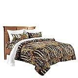 20 Lakes Woodland Hunter Camo Comforter, Sheet, Pillowcase Set (Queen, Black & White)