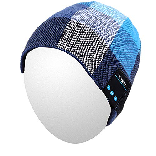 Qshell Bluetooth Hat, Rechargeable Audio Beanie Fashional Double Knit Skully Cap with Wireless Stereo Headphone Headset Earphone Speakerphone Mic for Sports Skating Hiking Camping Blue