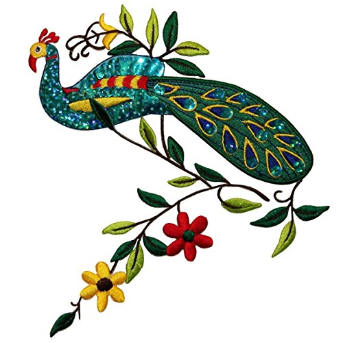 Id peacock w flowers bird embroidered sequined iron