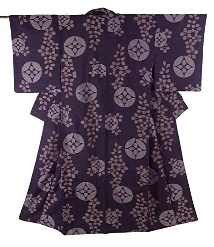 海外ハドルミニチュアアンティーク 着物 銘仙  唐花のような花文様 裄63cm 身丈150cm 正絹 袷