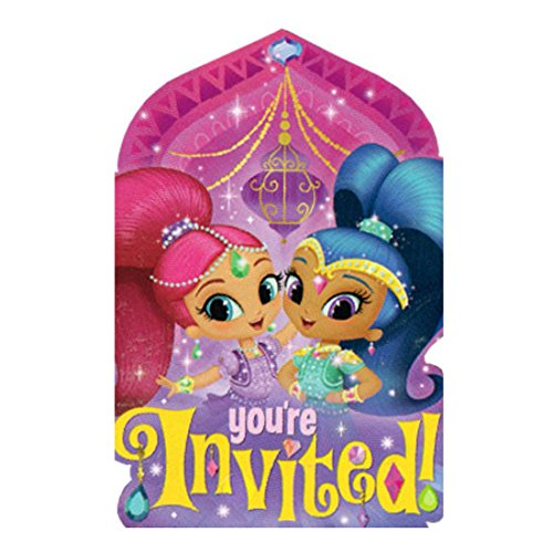 SHIMMER AND SHINE INVITATIONS (8) ~ Birthday Party Supplies Stationery Cards from Unbranded