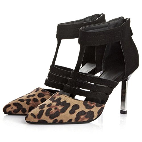 COOLCEPT Mujer Black/Leopard Print Tacon De Aguja Heel Vestir Bombas Zapatos Leopard print