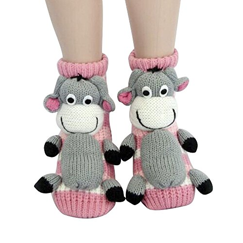 FloYoung Christmas Socks 3d Pink Donkey Non-slip Household Floor Socks for Women by FloYoung®