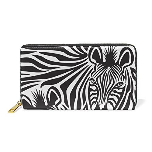 LORVIES Zebra Couple Leather Clutch Purse Long Wallet Card Holder Organizer by LORVIES