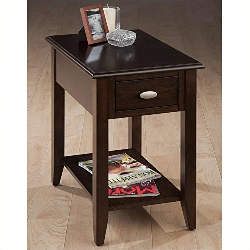 Jofran Chair Side Table with Bookmatch Inlay (Merlot Finish Chairside Table)