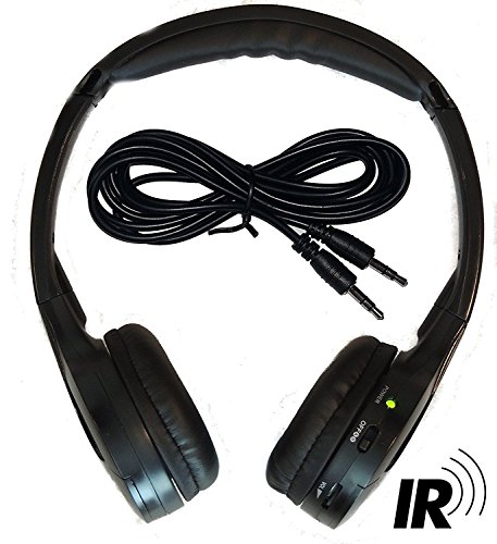 2 Channel KID SIZE Universal IR Infrared Wireless or Wired Car Headphones Autotain Cloud (Wireless Dual Ir Channel Headphones)