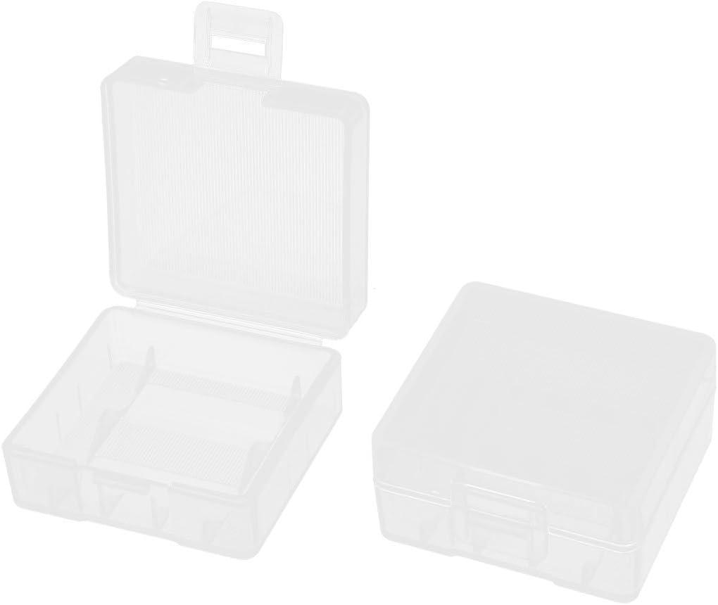 transparent Aufbewahrungsbox f/ür 2 x Batterien 18350 Rechteckig 2 St/ück