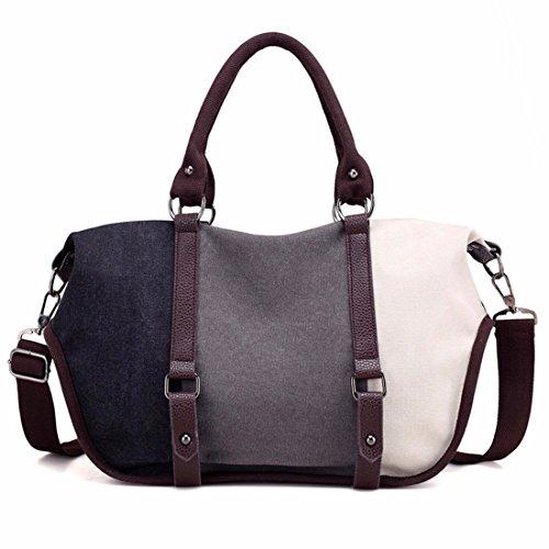 Hit Color stitching Canvas Tasche Damen Schultertasche Freizeitaktivitäten große Kapazität Messenger Bag wilden Handtasche, grau