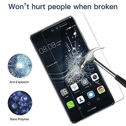 [2 Unidades] Protector de Pantalla Huawei P9, Senisttech 9H Dureza Cristal Vidrio Templado Para Huawei P9, 0.33mm Ultra Transparencia HD, 3D Touch Compatibles, Instalación Fácil
