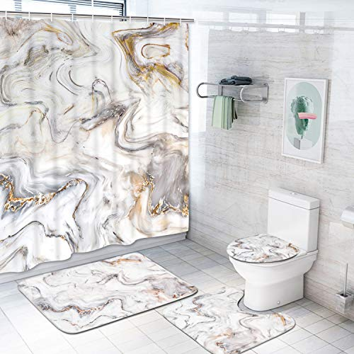 Krelymics 4 Piece Marble Texture Shower Curtain Sets with Non-Slip Rugs, Toilet Lid Cover and Bath Mat, Natural Marble Shower Curtain with 12 Hooks, Durable Waterproof Shower Curtain