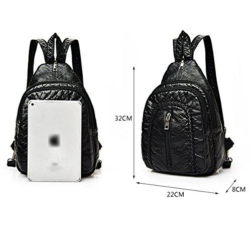 Mujer Nuevo Suave PU mochila Moda Cuero Lavable Paquete De Cofres Diamante Negro Doble Capa Multifunción Mochila Bolso 3