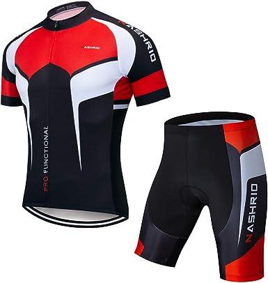 NASHRIO Mens Cycling Jersey Set Bicycle Short Sleeve Set Quick-Dry Breathable Shirt+3D Cushion Shorts Padded Pants//Bib Short