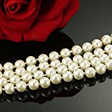Udalyn Faux Pearl Necklace 8MM Beads Long Cluster Flapper Costume Chain for Women 55""
